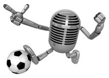 3D Classic Microphone kicking a powerful shot. 3D Classic Microp Stock Photography