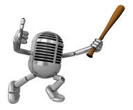 3D Classic Microphone Mascot a Baseball Batting. 3D Classic Micr Royalty Free Stock Photos