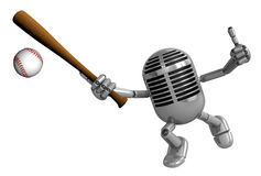 3D Classic Microphone Mascot a Baseball Batting. 3D Classic Micr Royalty Free Stock Photo