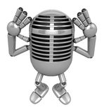 3D Classic Microphone Mascot gesture of both hands to hear that. Stock Photography