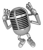 3D Classic Microphone Mascot gesture of both hands to hear that. Royalty Free Stock Images