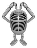 3D Classic Microphone Mascot gesture of love. 3D Classic Microph Stock Photo