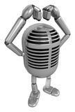 3D Classic Microphone Mascot gesture of love. 3D Classic Microph Royalty Free Stock Image