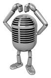 3D Classic Microphone Mascot gesture of love in To the left towa Royalty Free Stock Photo