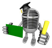3D Classic Microphone Mascot hand is holding a Chalk and Chalkbo Royalty Free Stock Photos