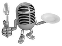 3D Classic Microphone Mascot hand is holding a Fork and Plate. 3 Stock Photography