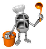 3D Classic Microphone Mascot hand is holding a ladle and saucepa Royalty Free Stock Image