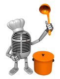 3D Classic Microphone Mascot hand is holding a ladle and saucepa Stock Photo
