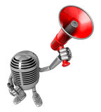 3D Classic Microphone Mascot the hand is holding a loudspeaker. Stock Photography