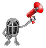 3D Classic Microphone Mascot the hand is holding a loudspeaker. Stock Images