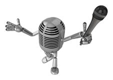 3D Classic Microphone Mascot the hand is holding a Mic. 3D Class Royalty Free Stock Images