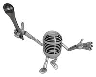 3D Classic Microphone Mascot the hand is holding a Mic. 3D Class Stock Images