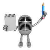 3D Classic Microphone Mascot hand is holding a notebook and Penc Stock Photography
