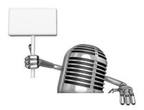 3D Classic Microphone Mascot hand is holding a picket and board. Royalty Free Stock Photos