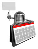 3D Classic Microphone Mascot hand is holding a picket and desk c Royalty Free Stock Images
