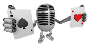 3D Classic Microphone Mascot hand is holding a playing card. 3D Stock Photography