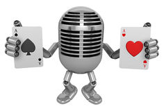 3D Classic Microphone Mascot hand is holding a playing card. 3D Stock Images
