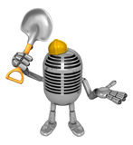 3D Classic Microphone Mascot the hand is holding a shovel. 3D Cl Royalty Free Stock Images