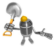 3D Classic Microphone Mascot the hand is holding a shovel. 3D Cl Stock Image