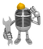 3D Classic Microphone Mascot the hand is holding a spanner. 3D C Royalty Free Stock Photos