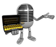 3D Classic Microphone Mascot the left hand guides and the right Stock Photo