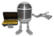 3D Classic Microphone Mascot the left hand guides and the right Royalty Free Stock Image