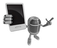 3D Classic Microphone Mascot the left hand guides and the right Royalty Free Stock Photos