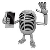 3D Classic Microphone Mascot the left hand guides and the right Royalty Free Stock Photography