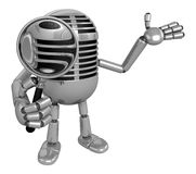 3D Classic Microphone Mascot look through a magnifying glass. 3D Royalty Free Stock Image
