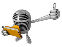 3D Classic Microphone Mascot the right hand best gesture and lef Stock Photo
