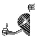 3D Classic Microphone Mascot the right hand best gesture and lef Stock Image