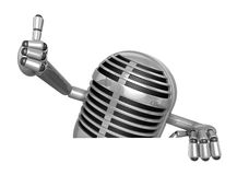3D Classic Microphone Mascot the right hand best gesture and lef Royalty Free Stock Photography