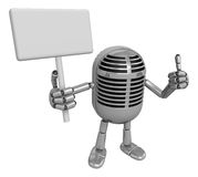3D Classic Microphone Mascot the right hand best gesture and lef Royalty Free Stock Images