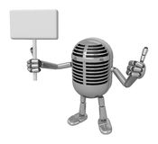 3D Classic Microphone Mascot the right hand best gesture and lef Royalty Free Stock Photo