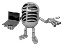 3D Classic Microphone Mascot the right hand guides and left hand Royalty Free Stock Photography