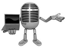3D Classic Microphone Mascot the right hand guides and left hand Stock Photo