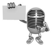 3D Classic Microphone Mascot the right hand guides and the left Stock Image