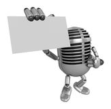 3D Classic Microphone Mascot the right hand guides and the left Royalty Free Stock Photography