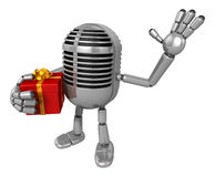 3D Classic Microphone Mascot the right hand guides and the left Royalty Free Stock Photos