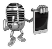 3D Classic Microphone Mascot the right hand is holding a tablet Stock Images