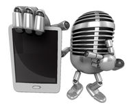 3D Classic Microphone Mascot the right hand is holding a tablet Stock Image