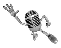3D Classic Microphone Mascot on Running. 3D Classic Microphone R Stock Image