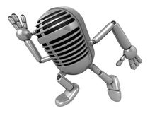 3D Classic Microphone Mascot on Running. 3D Classic Microphone R Stock Images