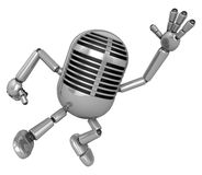 3D Classic Microphone Mascot on Running. 3D Classic Microphone R Stock Photography