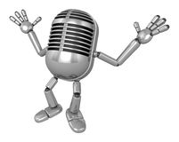 3D Classic Microphone Mascot is startled again and again. 3D Cla Stock Images
