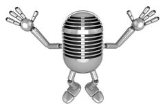 3D Classic Microphone Mascot is startled again and again. 3D Cla Royalty Free Stock Images