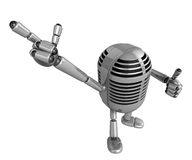 3D Classic Microphone Mascot Suggests the direction. 3D Classic Stock Photo