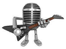 3D Classic Microphone Mascot to be playing the electric guitar. Stock Photography