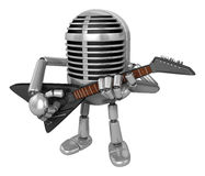 3D Classic Microphone Mascot to be playing the electric guitar. Stock Images