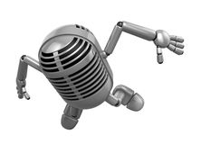3D Classic Microphone Mascot to be powerful and jumping. 3D Clas Stock Photos